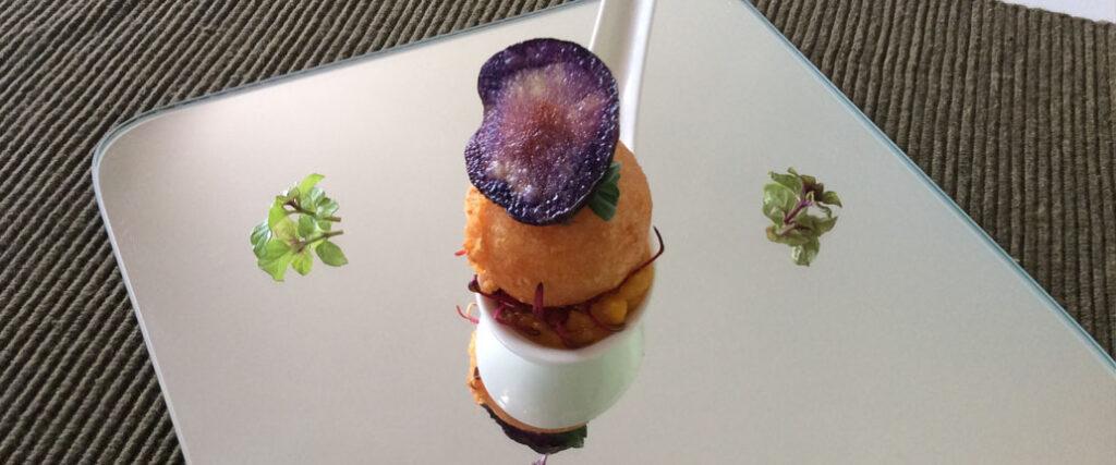 Sfera di Taleggio D.O.P. su Crema di zucca, finger food all'italiana!