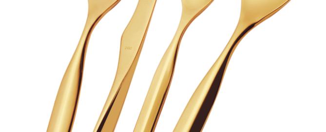 Per le grandi occasioni affascinanti posate d'oro Vidal firmate Bugatti